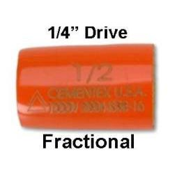 """FRACTIONAL Double Insulated 1/4"""" Square Drive Sockets."""