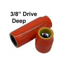 "FRACTIONAL & METRIC Double Insulated 3/8"" Deep Square Drive Sockets."