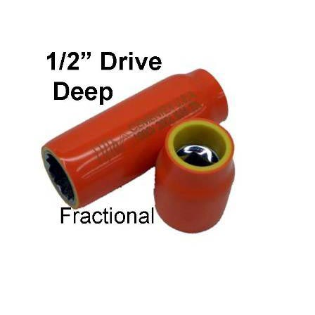"""CEMENTEX Double Insulated FRACTIONAL 1/2"""" Deep Square Drive Sockets."""