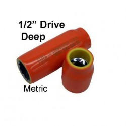 "METRIC Deep Square 1/2"" Drive Sockets. Double Insulated"